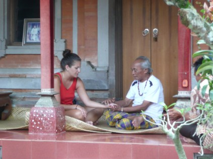 Palm reading with Ketut