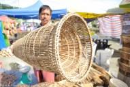 KIULU 21 May 2013.Loimin Solumbi dari Kg. Kiulu menunjukan bubu yang dijual pada harga RM75.00 di Tapak Pesta Ka'amatan 2013 di Pekan Kiulu, bubu yang diperbuat daripada bambu ini merupakan salah satu alat tradisi suku kaum dusun untuk menangkap ikan.