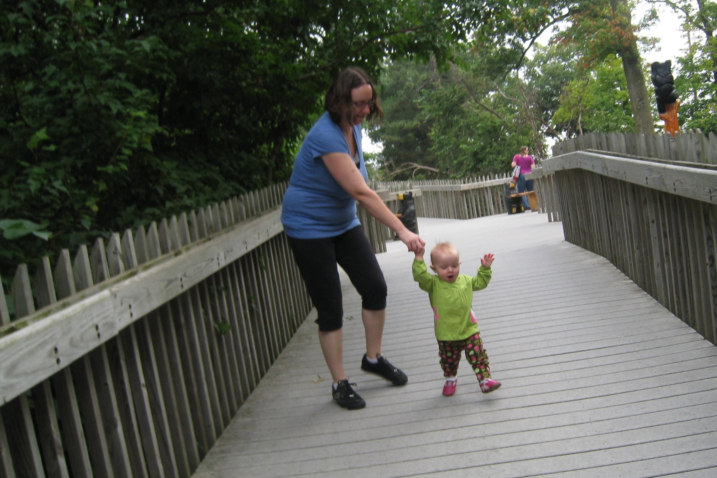 kivrin walking happily at the zoo
