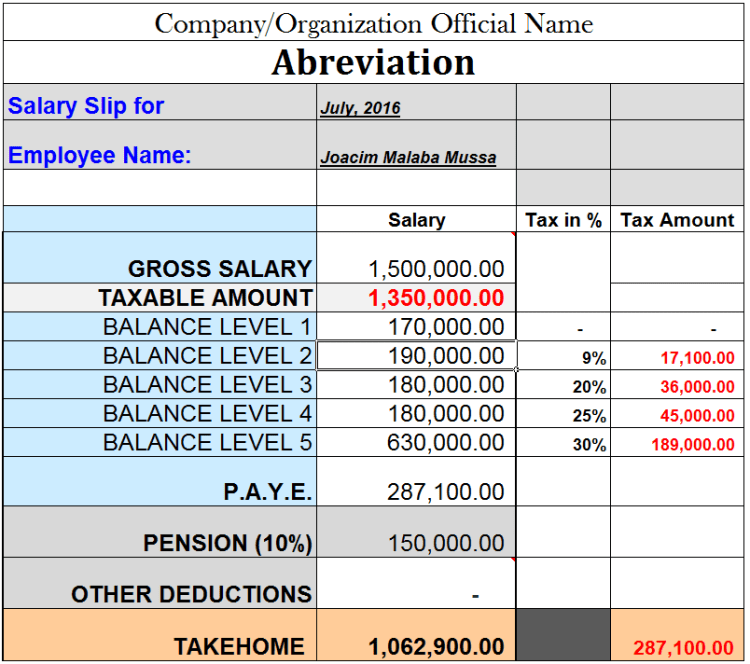 Tanzania PAYE and Pension Salary Calculation Sample 2016-17