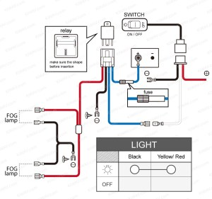 light NS15 fog  wiring kit  black switch motorcycle