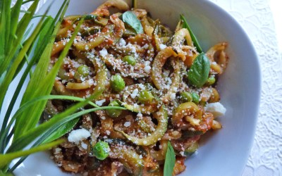 Spaghettis de courgettes, sauce tomate, parfum basilic