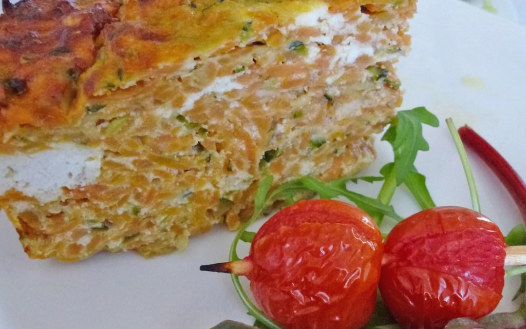 Flan de patates douces et courgettes, à la brousse de brebis