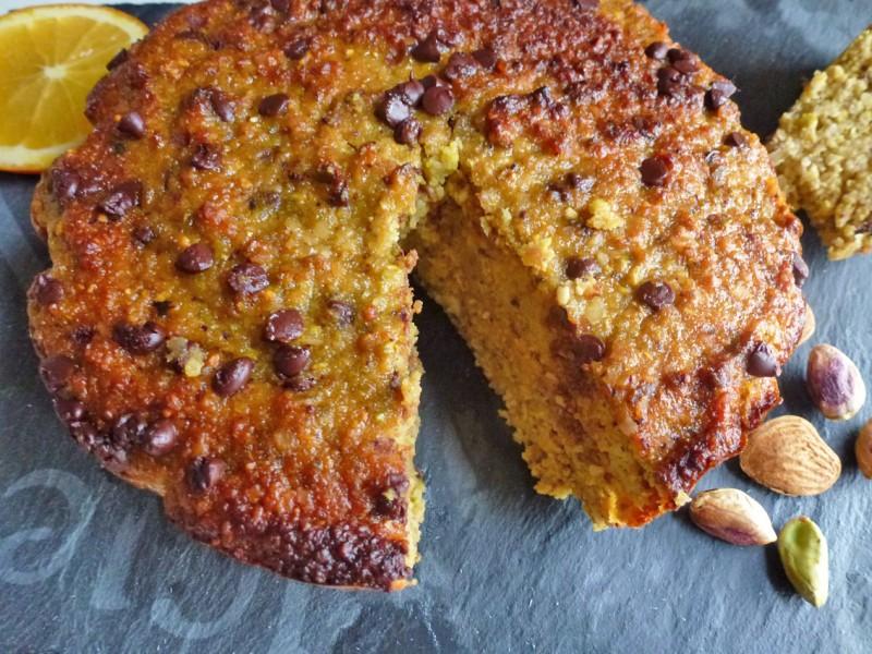 Gâteau amandes, pistaches, oranges ( sans céréales).