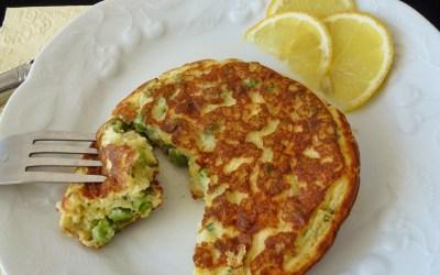 Pancakes  au fromage de chèvre et  petits pois ( sans gluten )
