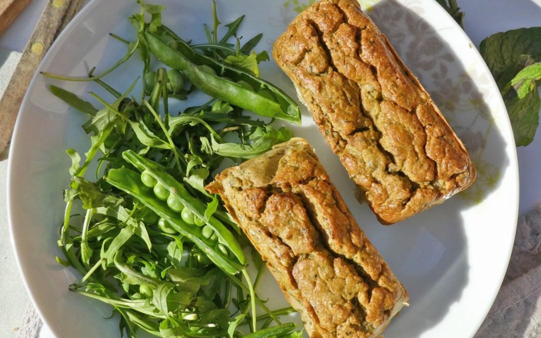 Moelleux aux pois chiches, courgettes, menthe et tofu fumé  ( Sans céréales )