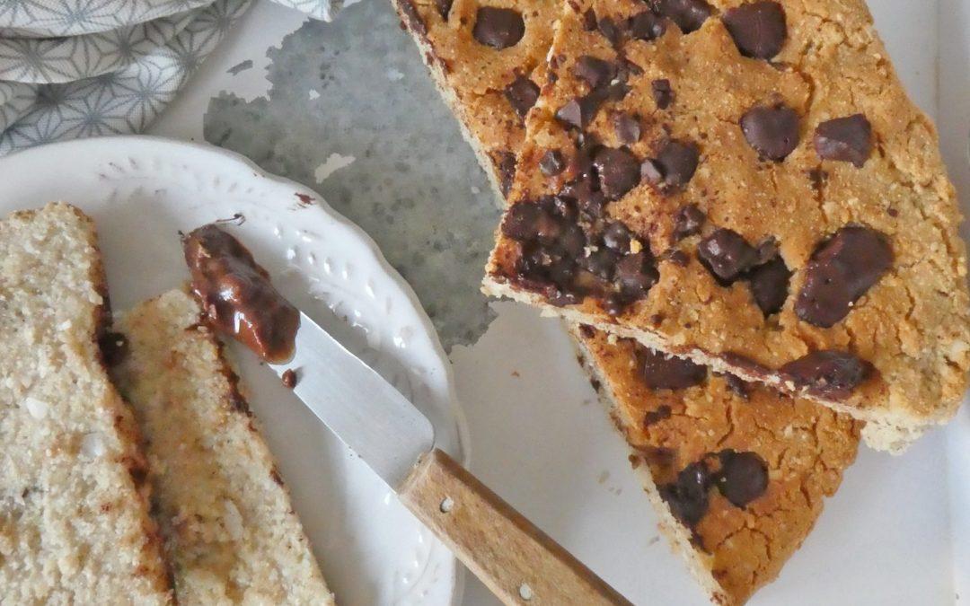 Scone à partager à la noix de coco et pépites de chocolat  ( Vegan, sans gluten, sans matières grasses ajoutées, sans sucre ajouté )