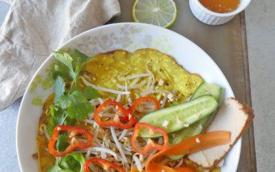 Inspiration crêpe vietnamiene et ses légumes croquants …pour un repas complet et végé  ( Vegan, Sans gluten )