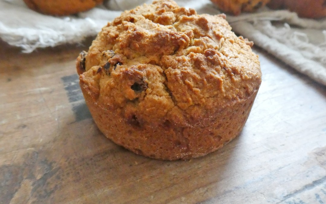 Muffins à la farine de coco et de souchet, aux cerises séchées ( Vegan, allégés, sans gluten, faible teneur en céréales )
