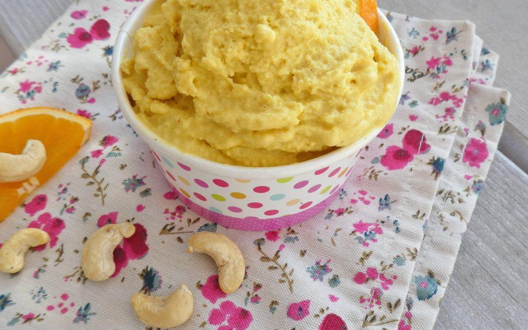 Sorbet orange aux noix de cajou ( Sans cuisson, vegan, sans gluten, léger, quasi sans sucre ajouté ;-) )