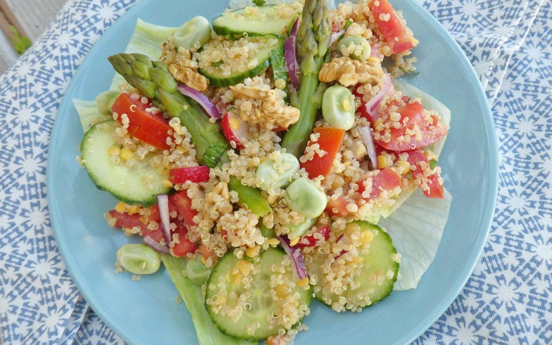 Salade de  printemps au quinoa … ( Sans gluten, sans céréales, vegan )