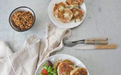 Galettes de pommes de terre, courgettes et fromage de chèvre, aux quatre épices  ( Sans céréales, sans gluten, sans oeuf, sans friture )