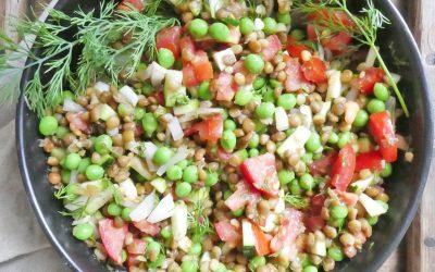 Salade de lentilles et petits pois à l'aneth ( Vegan, sans céréales)