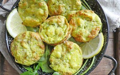 Minis frittatas aux pommes de terre, échalotes, coriandre et fromage de chèvre  ( Sans céréales )