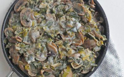 Poêlée toute légère de champignons et de poireaux ( Vegan, sans céréales )