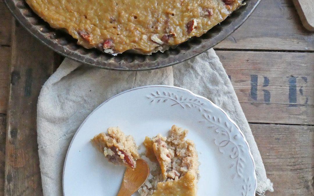 Gâteau de riz aux miel, lait d'amande, noix de pecan et zestes d'agrumes ( Sans gluten, IG contrôlé + une option vegan)