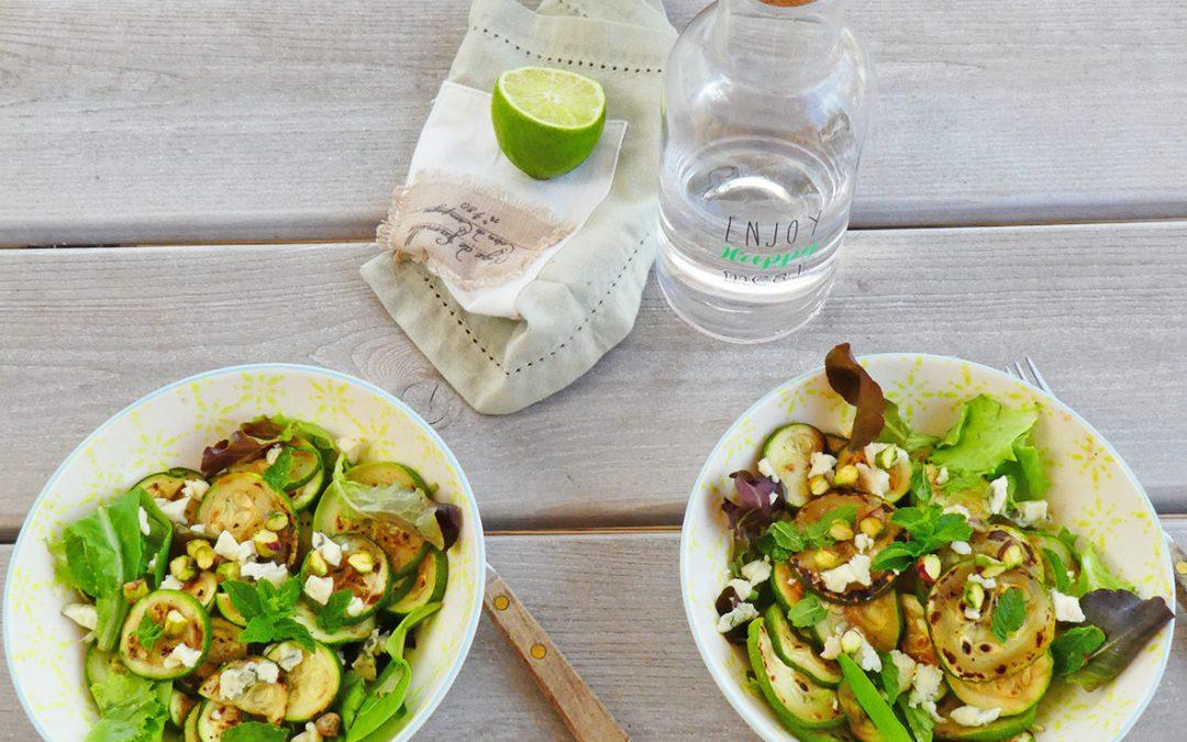 Salade de courgettes grillées au fromage de brebis  ( Sans céréales, léger, option vegan )