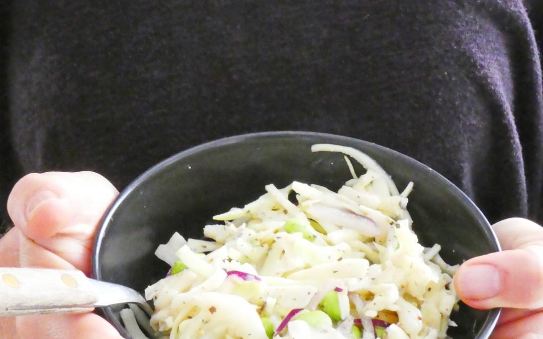 Salade de chou blanc râpé au sojami  ( très faible teneur en lipide, vegan, sans céréales )