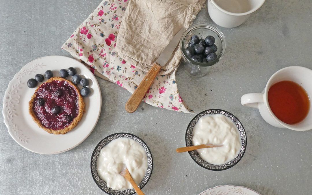 Mini tartelette saine aux fraises compotées ( vegan, peu sucrée, IG contrôlé )