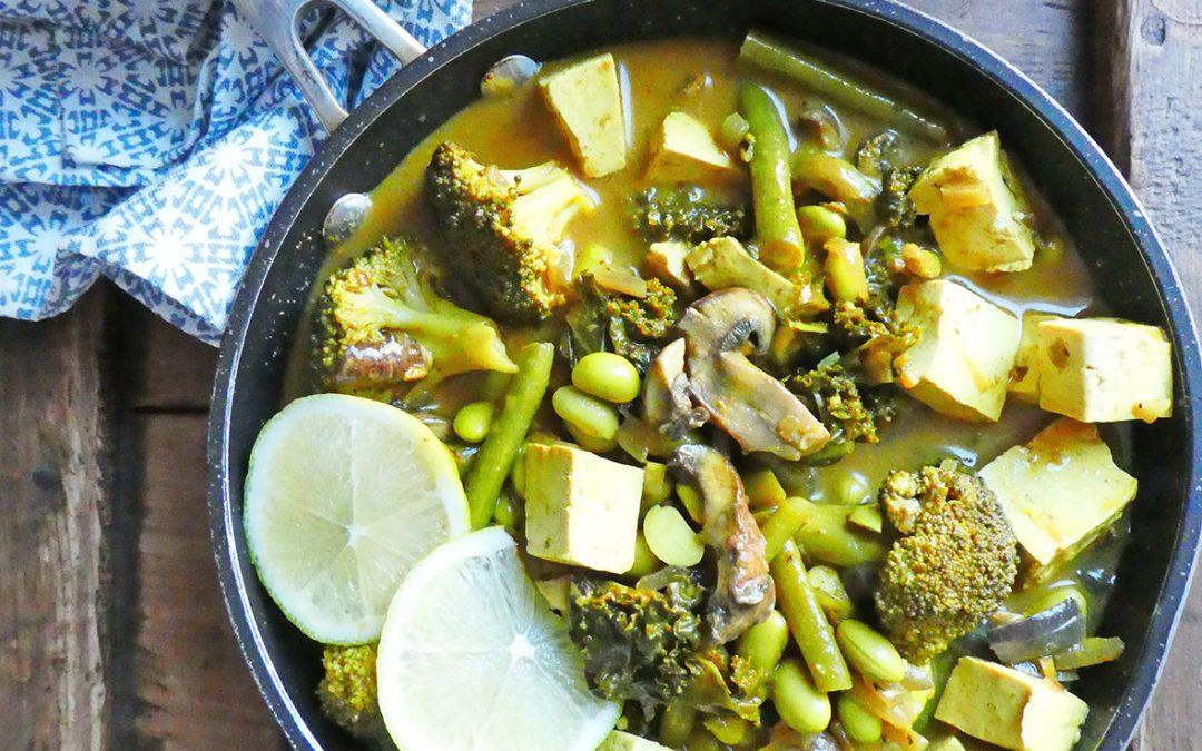 Curry de légumes verts et tofu ( Vegan, léger, sans céréales, sans gluten )