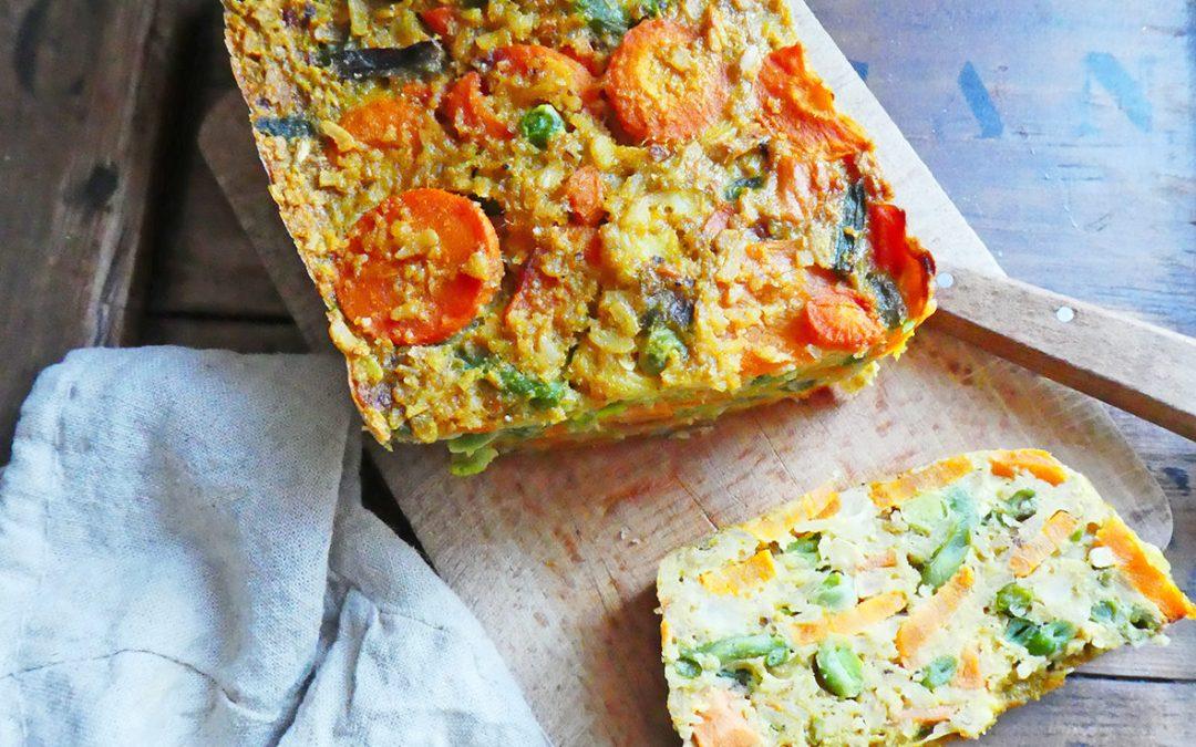 Cake de légumes aux flocons de pois chiche ( Index glycémique bas, sans céréales, sans gluten, sans lactose )
