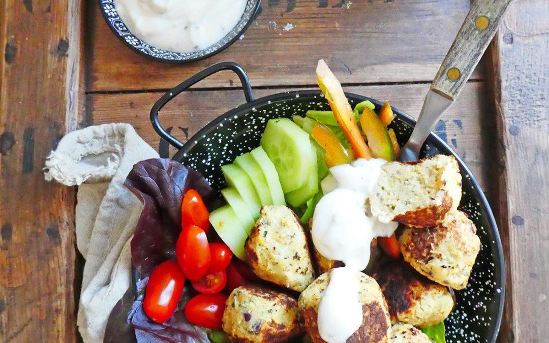 Boulettes de chou-fleur et pois chiche  (Vegan ou pas, sans céréales, sans gluten, index glycémique bas, sans friture )