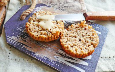 Muffin aux flocons d'avoine et purée d'amande, quasi sans sucre