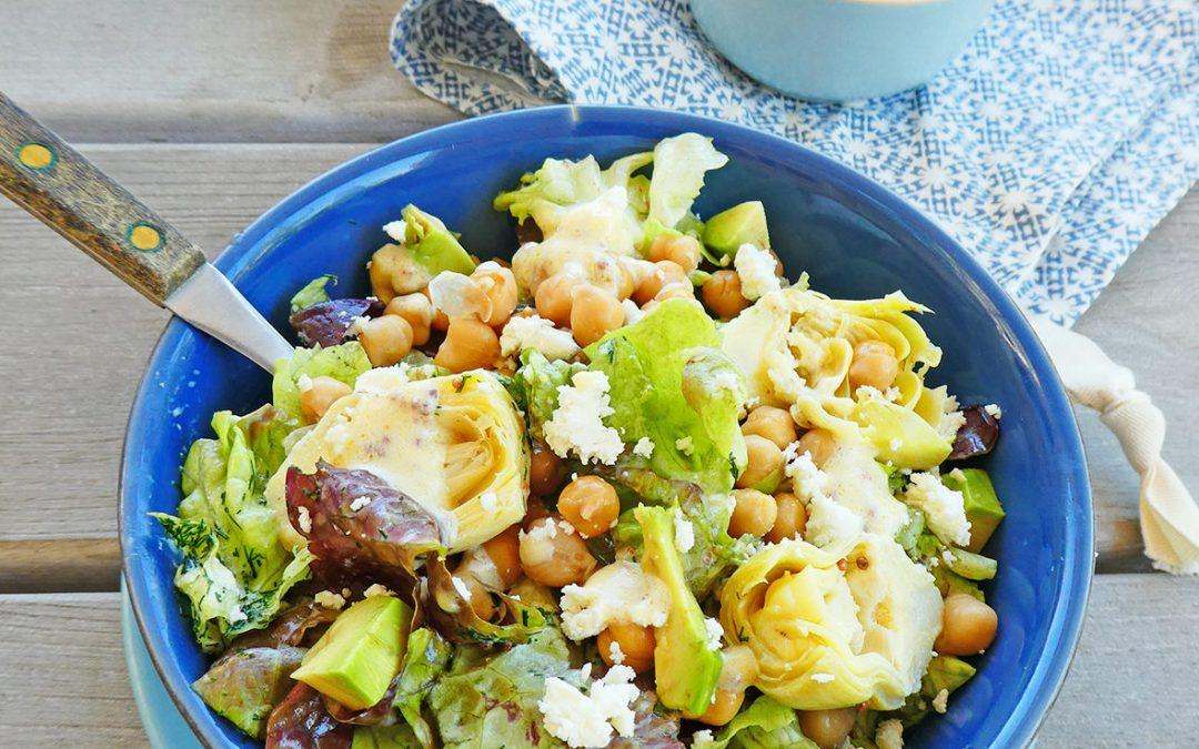 Salade aux coeurs d'artichauts et sa petite sauce légère à l'aneth ( Sans céréales, sans gluten, vegan ou pas )