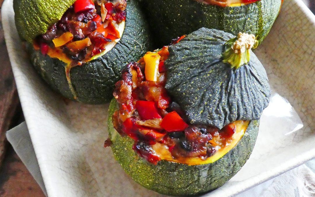 Courgettes rondes farcies aux légumes + options ( Vegan ou végétarien, sans céréales, sans gluten, léger )