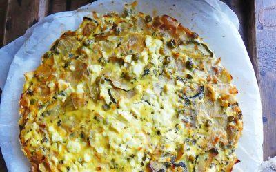 Quiche sans pâte aux légumes verts et Féta de brebis ( Léger, sans céréales, sans gluten, sans soja, low carb )