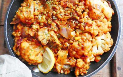 Poêlée de chou-fleur aux épices et aux lentilles  ( Vegan, sans céréales, sans soja )