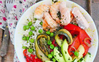 Boudha-bowl  saumon, crevettes,  ou repas complet ( Sans gluten, option végan )