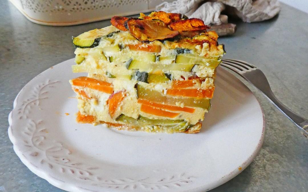 Gâteau de courgettes et patate douce au fromage de brebis ( Sans céréales, sans gluten, index glycémique bas )