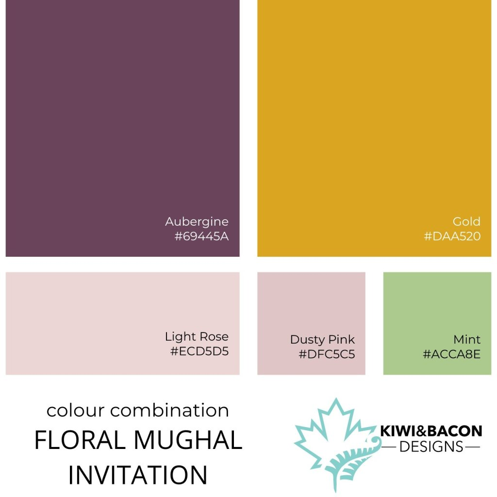 Indian Wedding Invitation Floral Mughal Colour Combination Palette