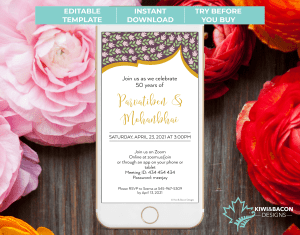 Indian Wedding Online Anniversary Party Invitation Floral Mughal Main
