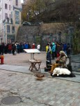 Musician in Quebec City with his lovely dog