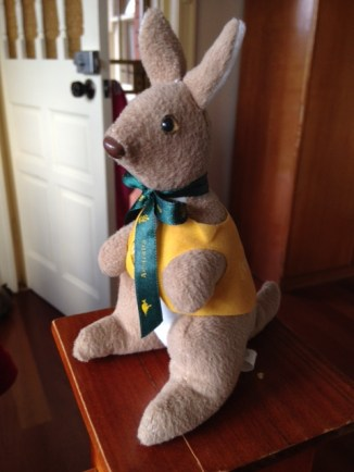A welcome in our room from a kangaroo