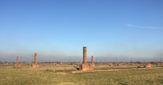 All thats left of the wooden huts is the chimneys in Birkenau