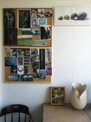Juliet Blackman's wall of inspiration for her ceramic forms.