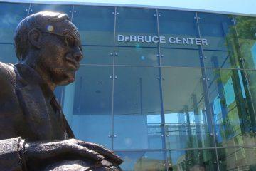 James Naismith statue outside the DeBruce Center at the University of Kansas