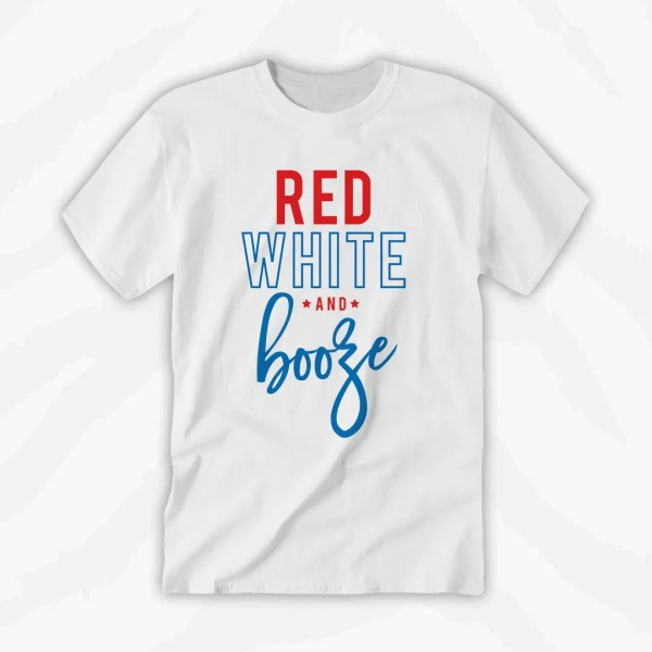 America Red White Booze Graphic Tee Holiday