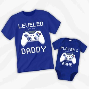 Leveled Up To Daddy Father Baby Matching Outfit