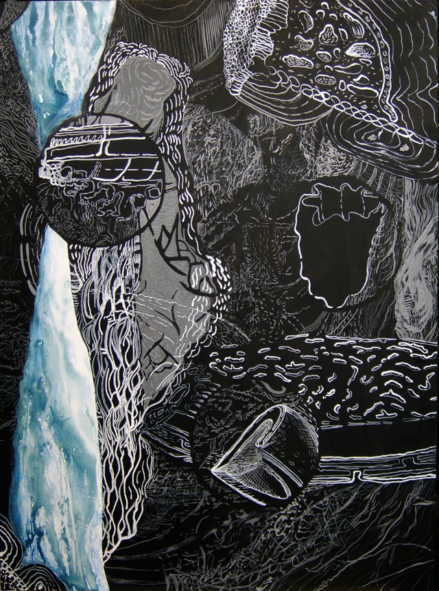 """Dividends and Mysteries, India ink on panel, 18""""x 24"""""""