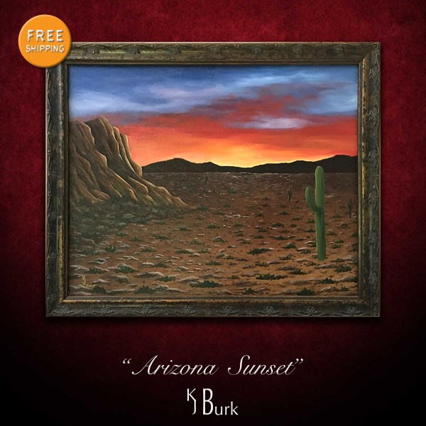 KJsArtStudio.com   Arizona Sunset ~ Original Desert Landscape Painting by KJ Burk