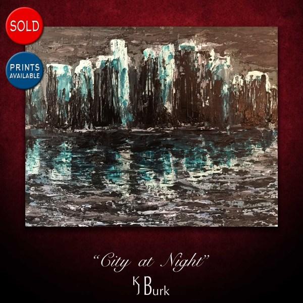 KJsArtStudio.com | City at Night ~ Original Abstract Cityscape Painting by KJ Burk