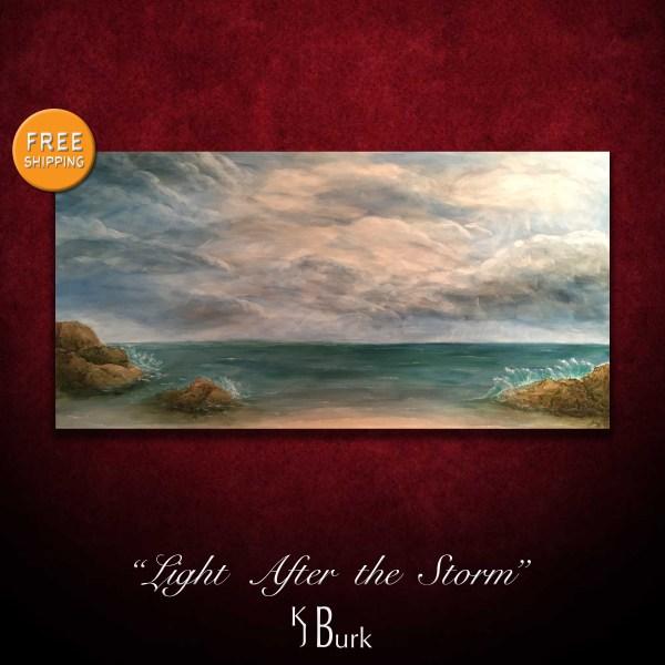 KJsArtStudio.com | Light After the Storm ~ Original Textured Seascape Painting by KJ Burk