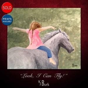 KJsArtStudio.com | Look I Can Fly ~ Original Figurative Painting by KJ Burk of the artist's daughter horseback riding.