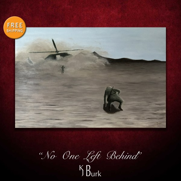 KJsArtStudio.com | No One Left Behind ~ Original Textured Military Painting by KJ Burk