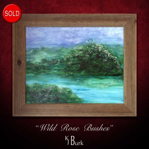 KJsArtStudio.com | Wild Rose Bushes ~ Original Textured Mixed Medium Impressionism Painting by KJ Burk