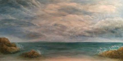 KJ's Art Studio | Light After The Storm - Original Mixed Medium Textured Seascape Painting by KJ Burk